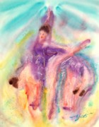 Dancers Mixed Media Framed Prints - Colorful Dance Framed Print by John Yato