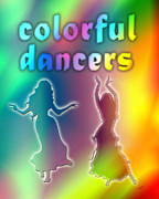 Ballroom Digital Art Posters - Colorful Dancers Poster by Linda Seacord