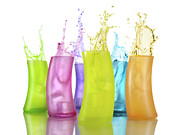 Bursting Prints - Colorful Drink Splashing from Glasses Print by Oleksiy Maksymenko