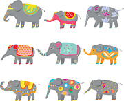 Traditional Culture Digital Art - Colorful Elephants by Cat MacInnes
