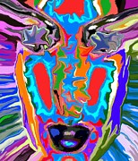 Look Mixed Media Prints - Colorful Face Print by Chris Butler