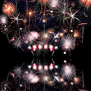 Fireworks Prints - Colorful Fireworks with Reflection Print by Stephanie Frey
