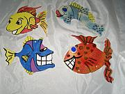 Wall Art Ceramics Originals - Colorful Fish   set of 4 wall art by Sandi Floyd