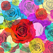 Roses Digital Art Metal Prints - Colorful Floral Design  Metal Print by Setsiri Silapasuwanchai