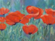 K Joann Russell Art - Colorful Flowers Red Poppies Beautiful Floral Art by K Joann Russell