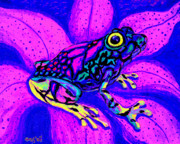 Whimsical Frogs Posters - Colorful Frog 2 Poster by Nick Gustafson