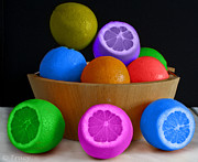 Tracy Hall Art - Colorful Fruit Bowl by Tracy  Hall