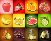 Angela Waye Prints - Colorful Fruit Food Square Background Print by Angela Waye
