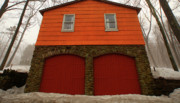 Red Doors Prints - Colorful Garage Print by Karol  Livote