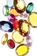 Transparent Jewelry Metal Prints - Colorful Gems Metal Print by Setsiri Silapasuwanchai