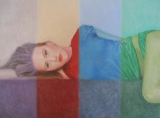 Geometric Pastels Prints - Colorful Girl Print by Lynet McDonald