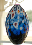 Colored Glass Art Metal Prints - Colorful Glass Vase Metal Print by Yurix Sardinelly