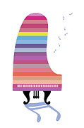 Party Birthday Party Digital Art Prints - Colorful Grand Piano Playing Music Print by Meg Takamura