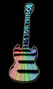 Electric Framed Prints Prints - Colorful Guitar Print by Lj Lambert