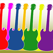 Electric Framed Prints Prints - Colorful Guitars Print by Lj Lambert