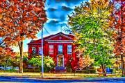 Arkansas Digital Art Framed Prints - Colorful Harrison Courthouse Framed Print by Kathy Tarochione