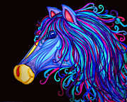 Horses Drawings - Colorful Horses Head by Nick Gustafson