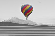 Hot Air Balloon Framed Prints - Colorful Hot Air Balloon and Longs Peak Framed Print by James Bo Insogna