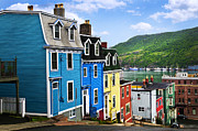 Sidewalk Framed Prints - Colorful houses in St. Johns Framed Print by Elena Elisseeva