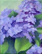 K Joann Russell Art - Colorful Hydrangeas Original Floral Art by K Joann Russell