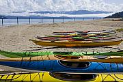 Lake Pend Oreille Posters - Colorful Kayaks Poster by Idaho Scenic Images Linda Lantzy
