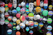 Fishing Photos - Colorful Key West Lobster Buoys by John Stephens