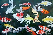 Koi Painting Posters - Colorful Koi Poster by Debbie LaFrance