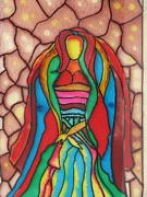 Girl Glass Art Framed Prints - Colorful Lady Framed Print by Ghosh Bose