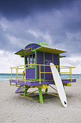 Sea Platform Prints - Colorful Lifeguard Station and Surfboard Print by Jeremy Woodhouse