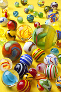 Plaything Prints - Colorful marbles Print by Garry Gay