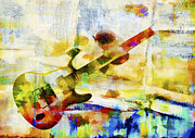 Instrument Digital Art Metal Prints - Colorful Music Metal Print by David Ridley