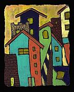 City Buildings Painting Posters - Colorful Neighborhood Poster by Wayne Potrafka