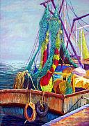 Boats Pastels Posters - Colorful Nets Poster by Candy Mayer