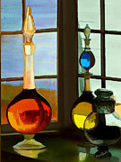 Glass Bottle Digital Art Prints - Colorful Old Bottles Print by Suni Roveto