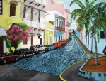 Cobblestone Paintings - Colorful Old San Juan by Luis F Rodriguez