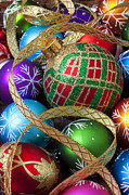 December Prints - Colorful ornaments with ribbon Print by Garry Gay