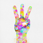Skin Digital Art Prints - Colorful Painting Of Hand Point Three Finger Print by Setsiri Silapasuwanchai
