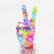 Paper Digital Art Prints - Colorful Painting Of Hand Point Two Finger Print by Setsiri Silapasuwanchai