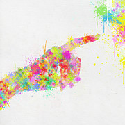 Signal Art - Colorful Painting Of Hand Pointing Finger by Setsiri Silapasuwanchai