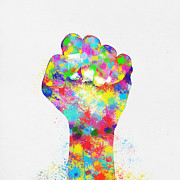 Icon Digital Art Prints - Colorful Painting Of Hand Print by Setsiri Silapasuwanchai