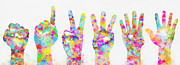 Skin Digital Art Prints - Colorful Painting Of Hands Number 0-5 Print by Setsiri Silapasuwanchai