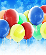 Angela Waye Prints - Colorful Party Celebration Balloons in Sky Print by Angela Waye