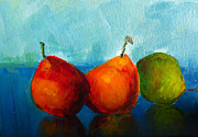 Brush Painting Prints - Colorful Pears Print by Patricia Awapara