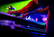 Live Music Photos - Colorful Piano Player by The  Vault