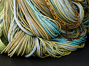 Netting Metal Prints - Colorful Pile of Fishing Nets and Ropes Metal Print by Carol Leigh