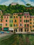 Boats In Harbor Posters - Colorful Portofino Poster by Charlotte Blanchard