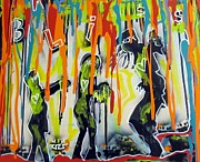 Neo-expressionism Mixed Media - Colorful Rain and BLISS by Robert Wolverton Jr