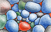 Rocks Drawings Prints - Colorful Rock Abstract Print by Nancy Mueller