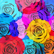 Droplets Prints - Colorful Roses Design Print by Setsiri Silapasuwanchai