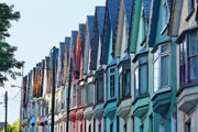 19th Century Architecture Prints - Colorful Row of Houses  Print by George Oze